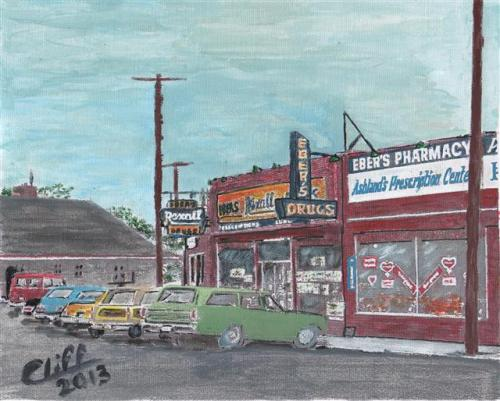 Eber's Pharmacy, circa 1973 - Painting by Cliff Wilson